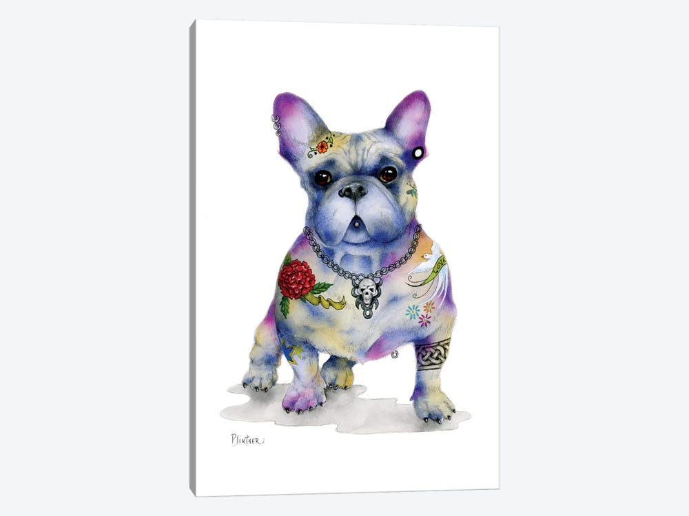 Tattoo Frenchie by Patricia Lintner 1-piece Canvas Print