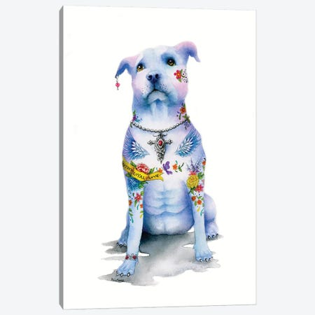 Tattoo Pitbull Canvas Print #LNT23} by Patricia Lintner Canvas Print