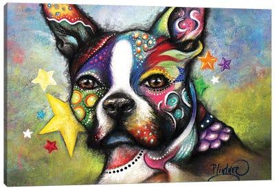 Boho Boston Terrier Canvas Art Print