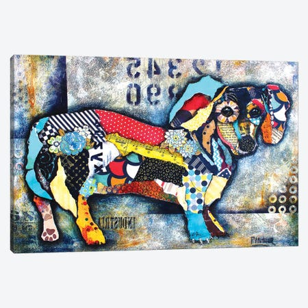 Urban Dachshund Body Canvas Print #LNT30} by Patricia Lintner Canvas Artwork
