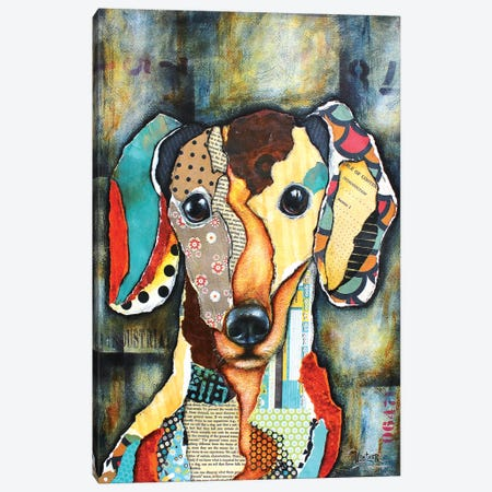 Urban Dachshund Head Canvas Print #LNT31} by Patricia Lintner Canvas Wall Art