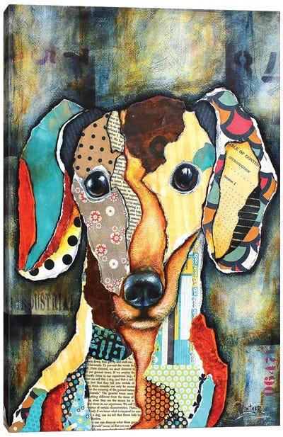 Urban Dachshund Head Canvas Art Print