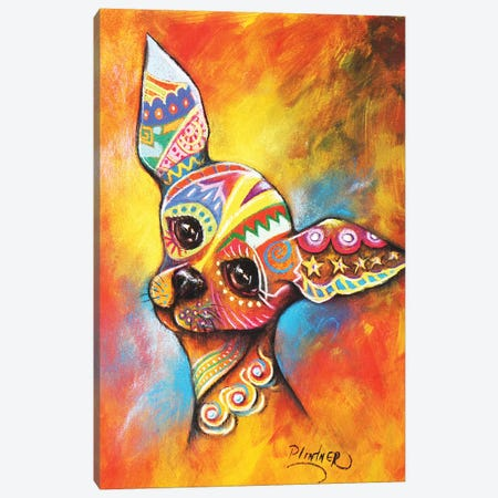 Boho Chihuahua Canvas Print #LNT3} by Patricia Lintner Canvas Wall Art
