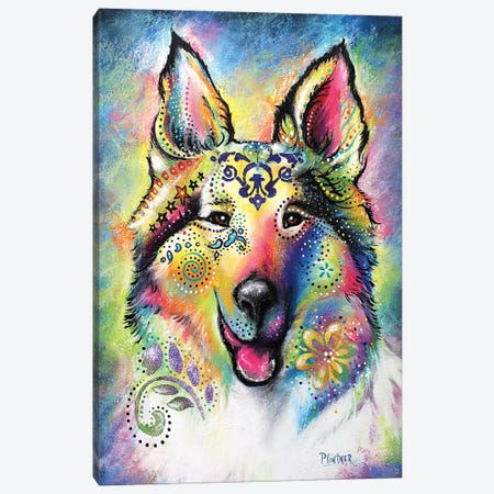 Boho Collie Canvas Print #LNT4} by Patricia Lintner Canvas Print