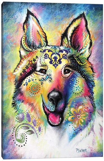 Boho Collie Canvas Art Print