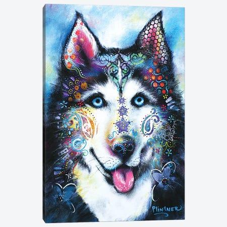 Boho Husky Canvas Print #LNT7} by Patricia Lintner Canvas Print