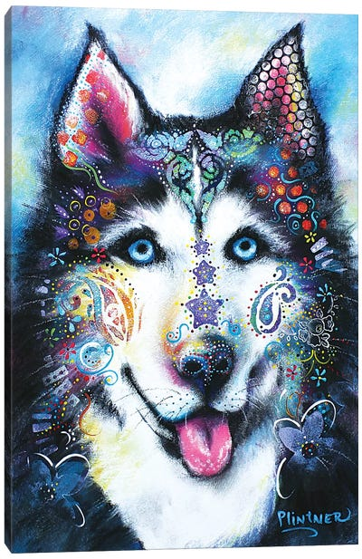 Boho Husky Canvas Art Print