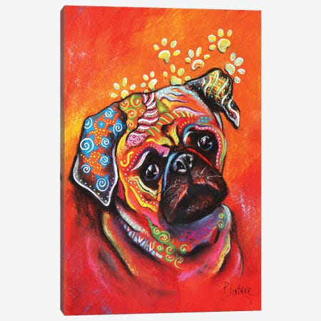 Boho Pug Canvas Print #LNT9} by Patricia Lintner Canvas Artwork