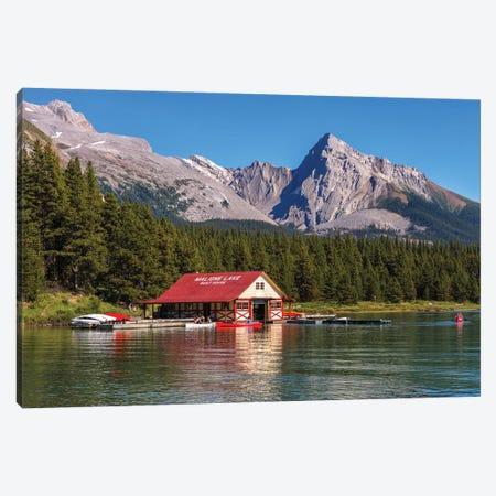 Maligne Lake Boat House, Jasper, Canada 3-Piece Canvas #LNZ157} by Sergio Lanza Canvas Art Print