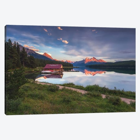 Maligne Sunset, Jasper, Canada Canvas Print #LNZ160} by Sergio Lanza Canvas Print
