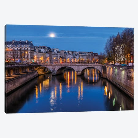 Moon By The Seine Canvas Print #LNZ165} by Sergio Lanza Canvas Art