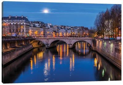 Moon By The Seine Canvas Art Print