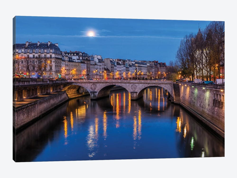 Moon By The Seine by Sergio Lanza 1-piece Canvas Wall Art