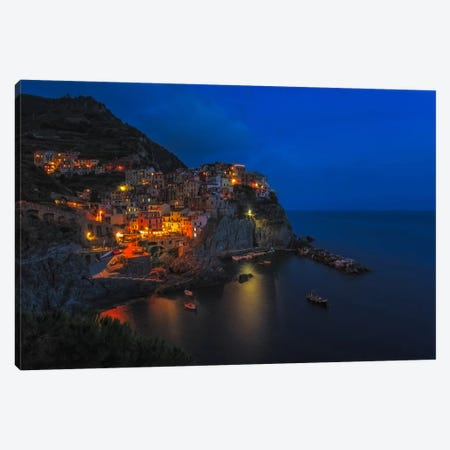 Manarola Twilight Canvas Print #LNZ26} by Sergio Lanza Canvas Wall Art