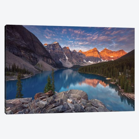 Moraine Lake 3-Piece Canvas #LNZ27} by Sergio Lanza Canvas Artwork