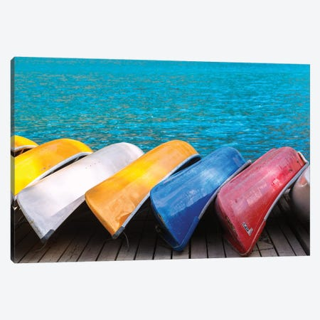 Canoes By Moraine 3-Piece Canvas #LNZ97} by Sergio Lanza Canvas Art Print