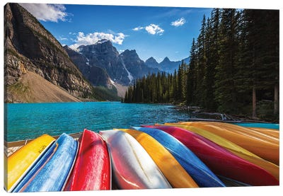 Canoes By The Lake Canvas Art Print