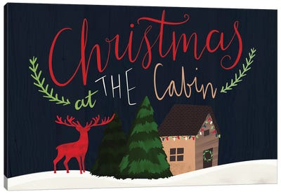 Cozy Christmas Cabin IV Canvas Art Print