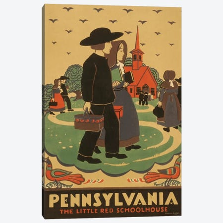 Pennsylvania - The Little Red Schoolhouse Canvas Print #LOC10} by Library of Congress Canvas Artwork