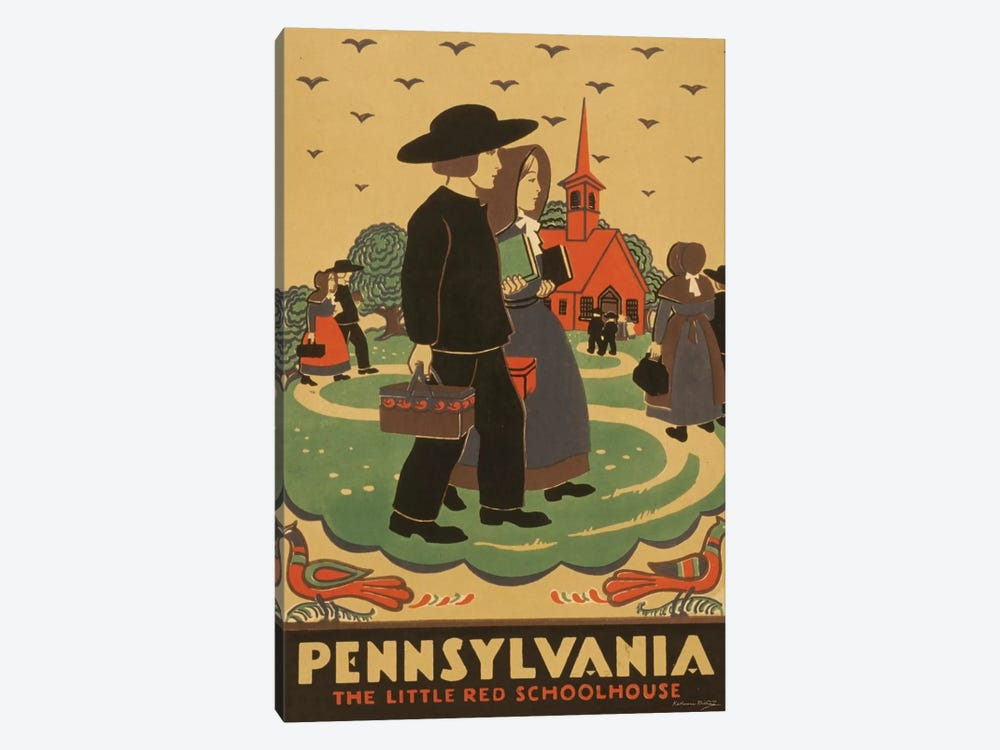 Pennsylvania - The Little Red Schoolhouse by Library of Congress 1-piece Canvas Artwork