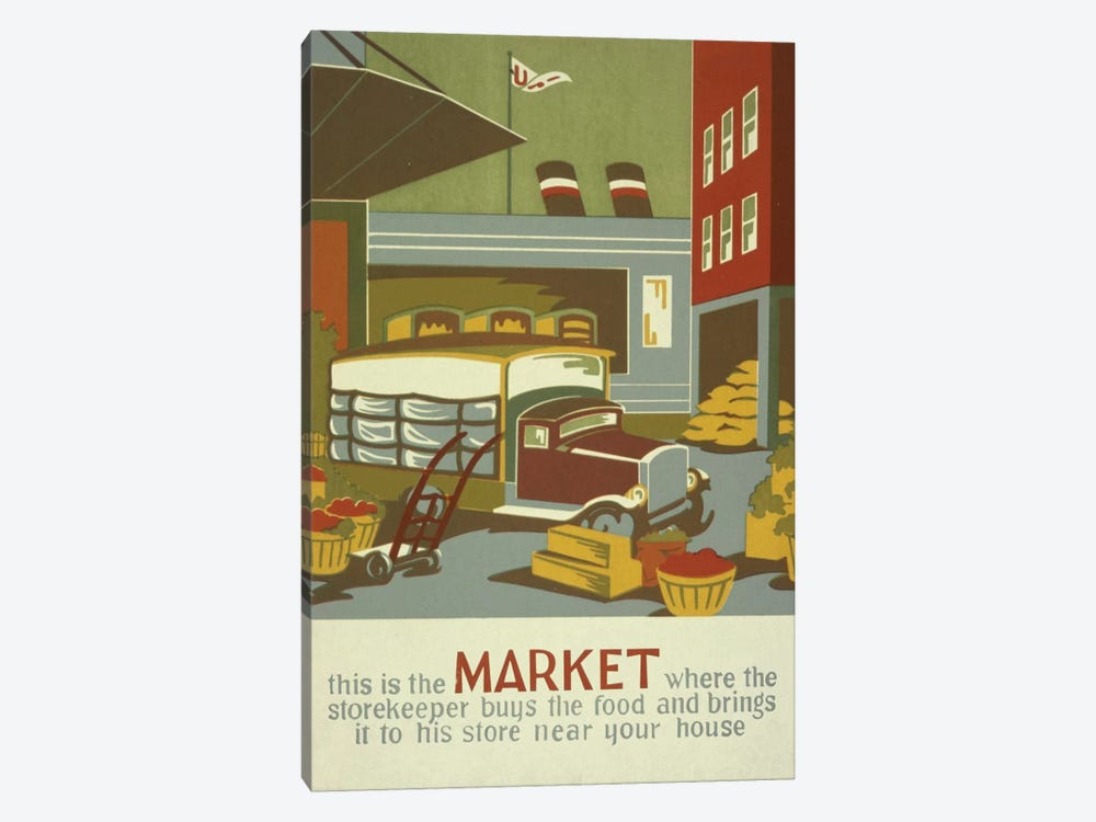 The Marketplace by Library of Congress 1-piece Canvas Wall Art