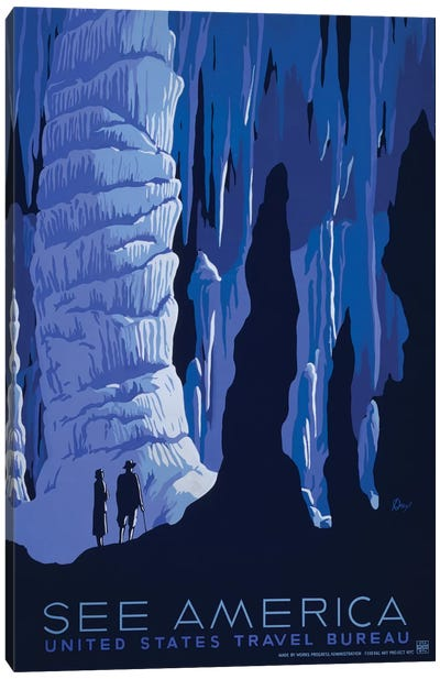 U.S. Travel Bureau See America Series: Caverns Canvas Art Print