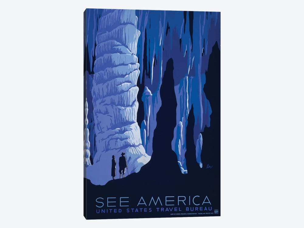 U.S. Travel Bureau See America Series: Caverns 1-piece Canvas Artwork
