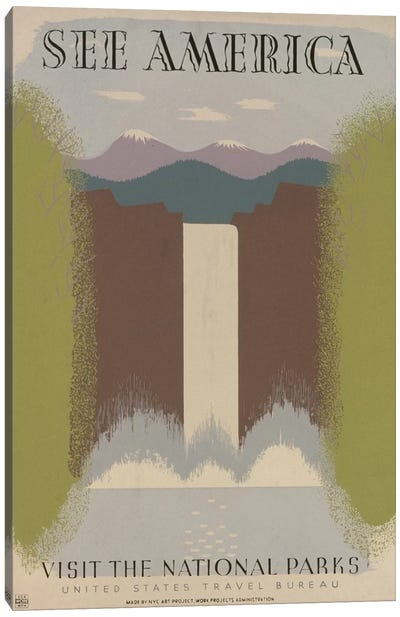 U.S. Travel Bureau See America Series: Visit The National Parks Canvas Art Print