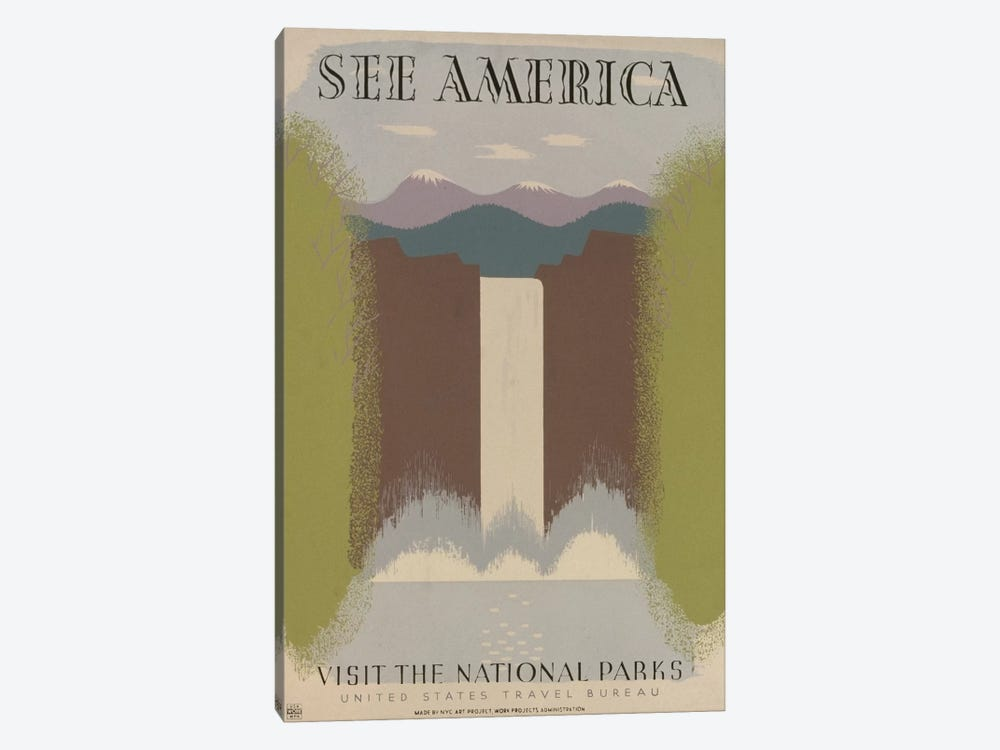 U.S. Travel Bureau See America Series: Visit The National Parks by Library of Congress 1-piece Canvas Print