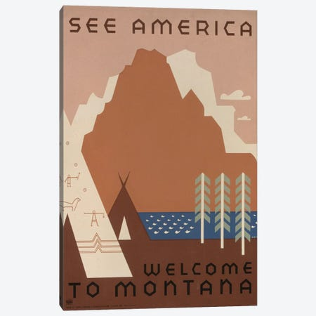 U.S. Travel Bureau See America Series: Welcome To Montana I Canvas Print #LOC20} by Library of Congress Art Print