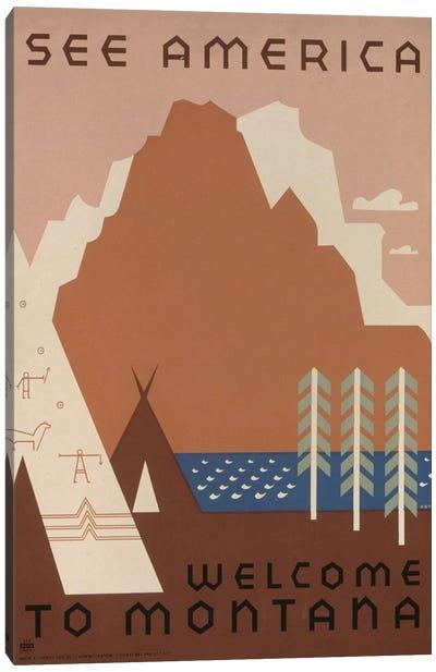 U.S. Travel Bureau See America Series: Welcome To Montana I Canvas Print #LOC20
