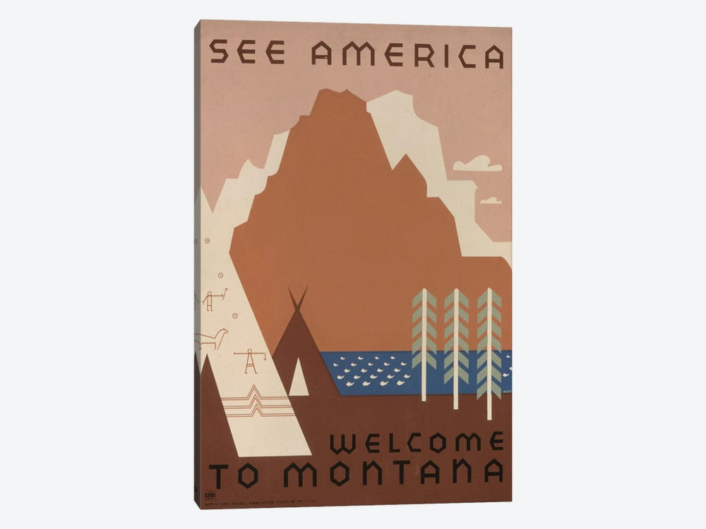 U.S. Travel Bureau See America Series: Welcome To Montana I by Library of Congress 1-piece Canvas Art Print
