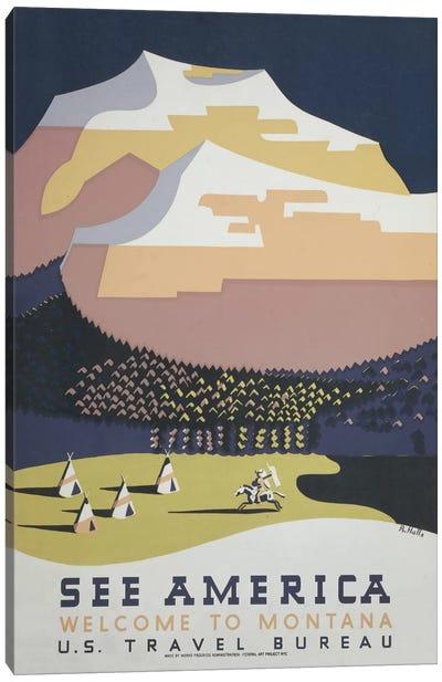 U.S. Travel Bureau See America Series: Welcome To Montana II Canvas Print #LOC21