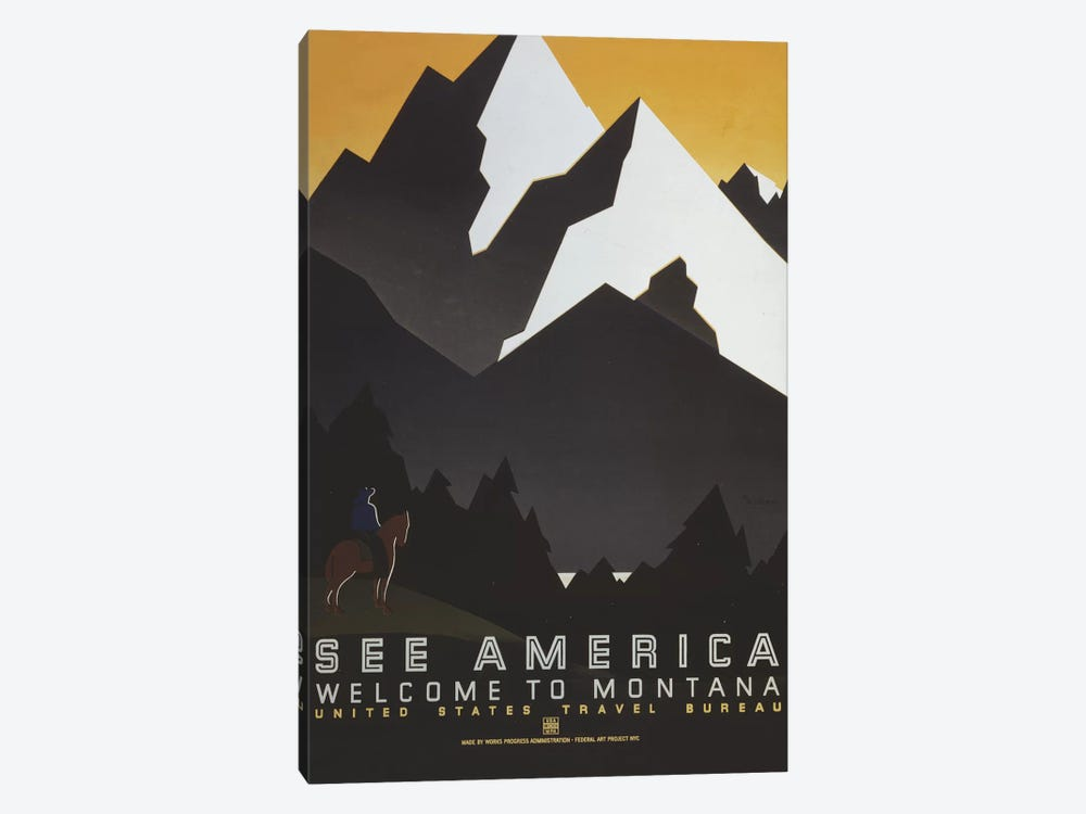 U.S. Travel Bureau See America Series: Welcome To Montana III by Library of Congress 1-piece Canvas Print