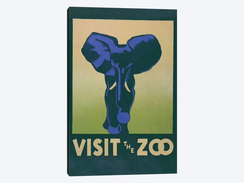 Visit The Zoo (Elephant) by Library of Congress 1-piece Canvas Wall Art