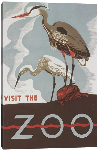 Visit The Zoo (Herons) by Library of Congress Art Print