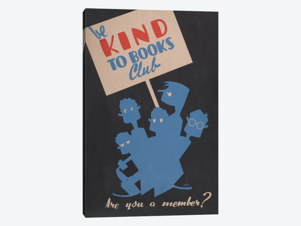 Be Kind To Books Club, Are You A Member? by Library of Congress 1-piece Canvas Art Print