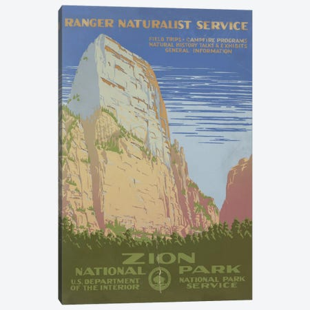 Zion National Park (Ranger Naturalist Service) Canvas Print #LOC37} by Library of Congress Canvas Art Print