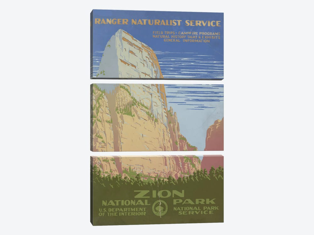 Zion National Park (Ranger Naturalist Service) by Library of Congress 3-piece Canvas Print