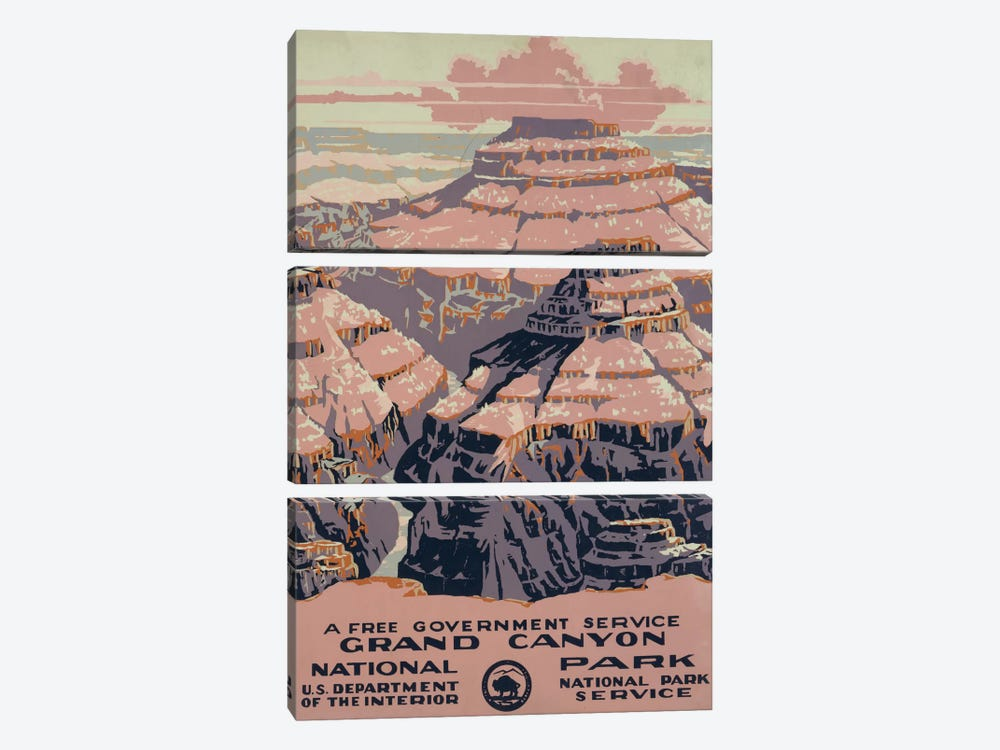 Grand Canyon National Park (A Free Government Service) by Library of Congress 3-piece Canvas Print