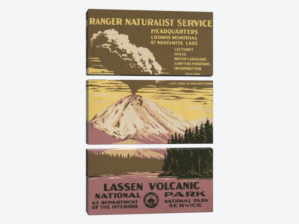 Lassen Volcanic National Park (Ranger Naturalist Service) by Library of Congress 3-piece Art Print