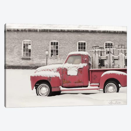 Old Sled Works Red Truck Canvas Print #LOD107} by Lori Deiter Canvas Art