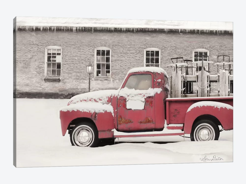 Old Sled Works Red Truck by Lori Deiter 1-piece Canvas Art