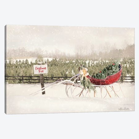 Red Sleigh at Tree Farm Canvas Print #LOD111} by Lori Deiter Canvas Art