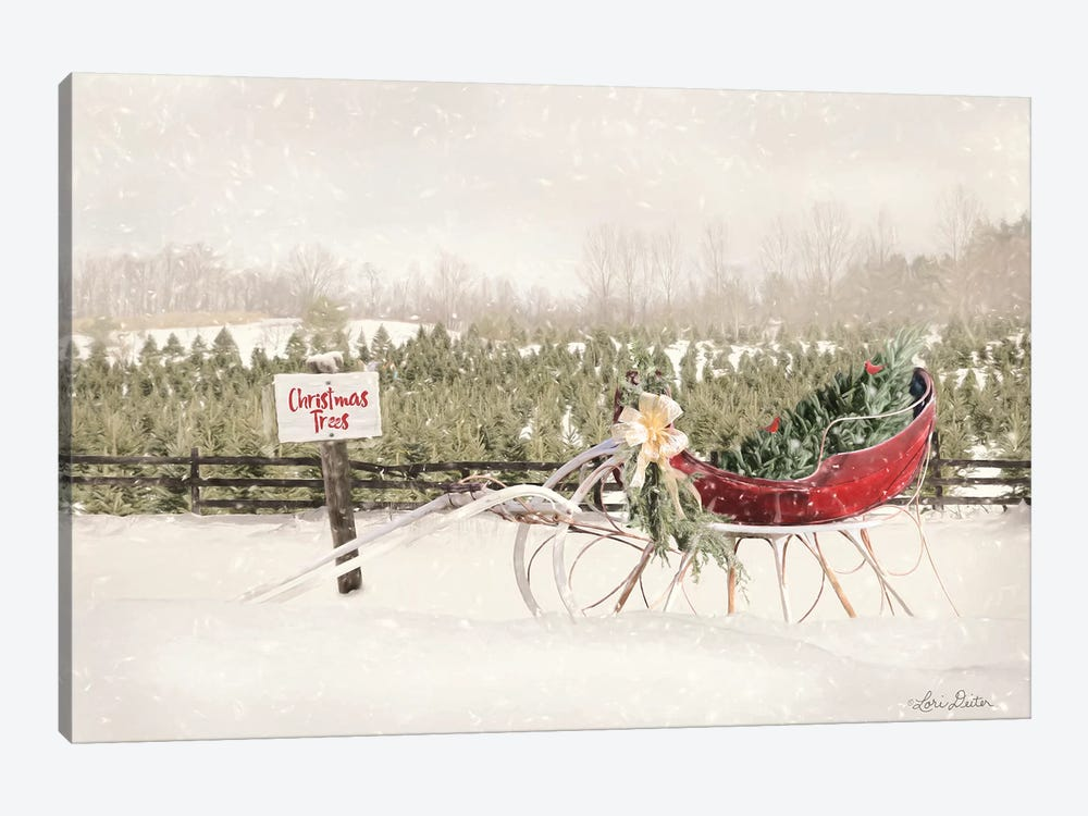 Red Sleigh at Tree Farm by Lori Deiter 1-piece Canvas Art Print