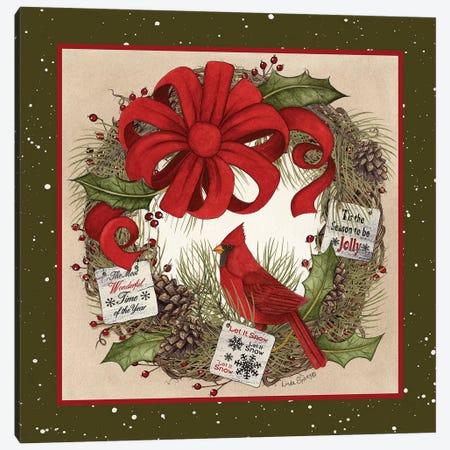 Cardinal Christmas Wreath Canvas Print #LOD126} by Lori Deiter Canvas Art