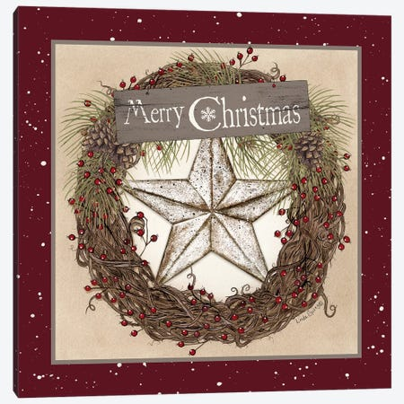 Christmas Barn Star Wreath Canvas Print #LOD127} by Lori Deiter Canvas Artwork