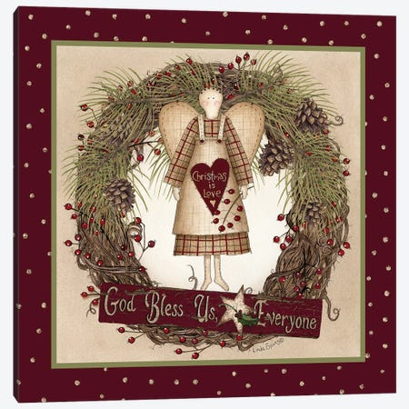 Folk Angel Christmas Wreath Canvas Print #LOD130} by Lori Deiter Canvas Art