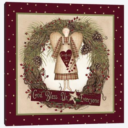 Folk Angel Christmas Wreath Canvas Print #LOD130} by Lori Deiter Canvas Art