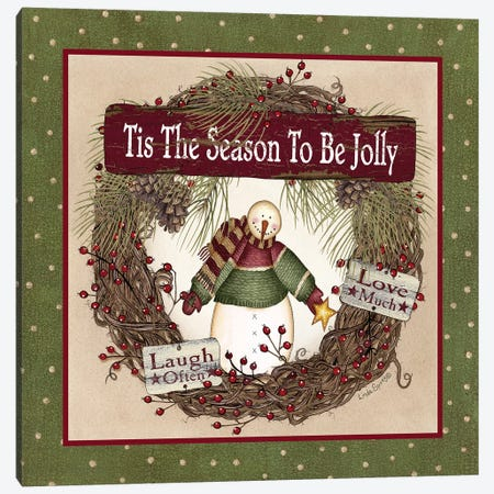 Snowman Christmas Wreath Canvas Print #LOD133} by Lori Deiter Canvas Wall Art